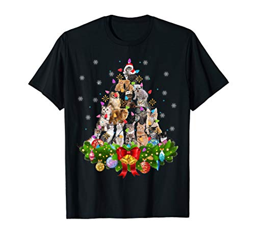 Funny Cat Christmas Tree Xmas Gifts T-Shirt (For Xmas Gifts)