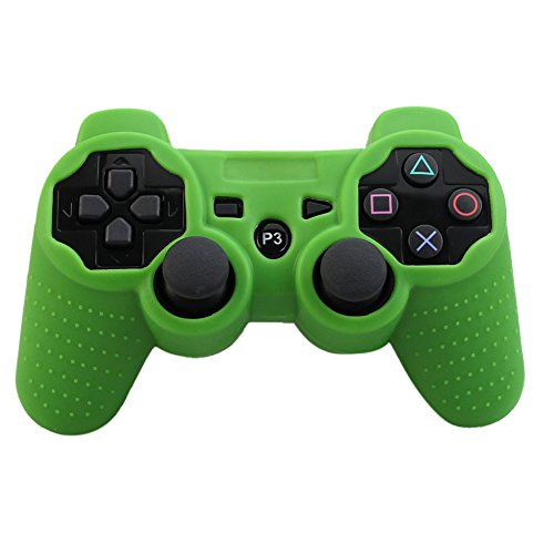 Alouflower Silicone Rubber Skin Grip Protective Cover Case For Playstation 3 PS3 Controller (Green)