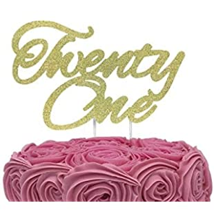 INNORU Happy 21st Birthday Cake Topper Gold Glitter Birthday Party Cake Decorations Supplies