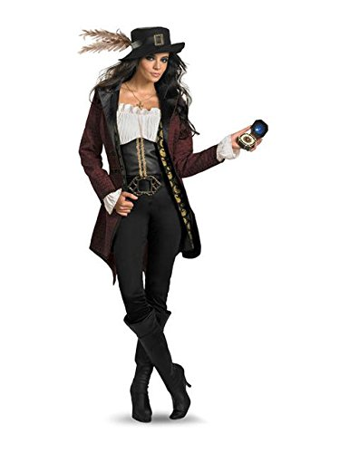 Disguise Women's Disney Pirates Of The Caribbean Angelica Prestige Costume, Black/White/Burgandy/Gold, (Angelica Pirate Hat)