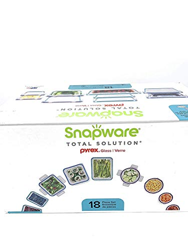 Snapware: 18PC Total Solution Pyrex Glass Food Keeper Set - Featuring Write N' Erase Lids - 18PC - 18-Piece Set.