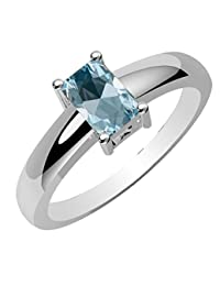 0.80ctw, Genuine Blue-Topaz 4x6mm Octagon & Solid .925 Sterling Silver Rings