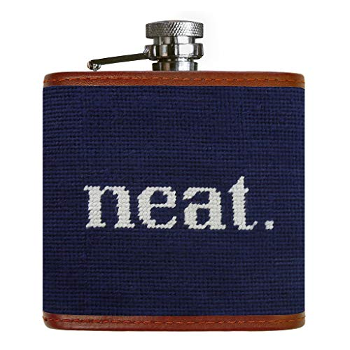 Neat Needlepoint Flask in Dark Navy by Smathers & Branson