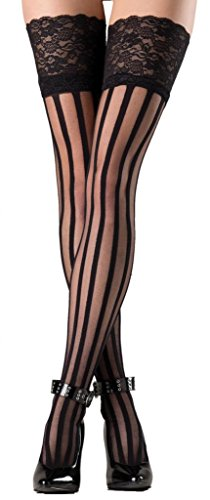 (Costume Adventure Women's Spandex Vertical Striped Pantyhose With Lace Top)