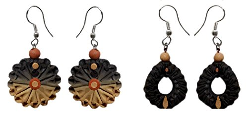 DollsofIndia 2 Pairs of Terracotta Dangle Earrings - Length - 1.5 inches (RW18)
