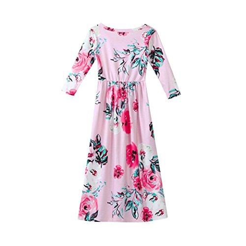 Omiky® Kinder Säuglings-Baby-Mädchen-Kleid-langes Hülsen-Blumenkleid-Ausstattungs-Kleidung Rosa