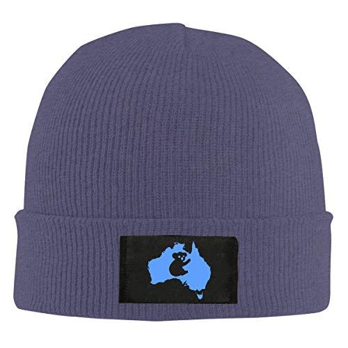 Mens Womens Beanie Cap Watch Hat Winter Warm Knit Skull Hat Cap with Australia Koala Printed Black