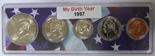 1997 - 5 Coin Birth Year Set in American Flag Holder - Coin Set Birthday