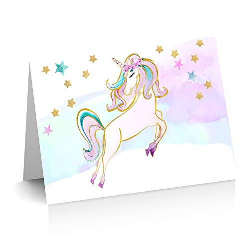 Magical Unicorn Thank you Cards | Blank Inside | 12 Cards + 12 Envelopes | Watercolor with Digital Gold Foil | Birthday Thank Yous | Greeting Cards | Unicorn Note Cards -