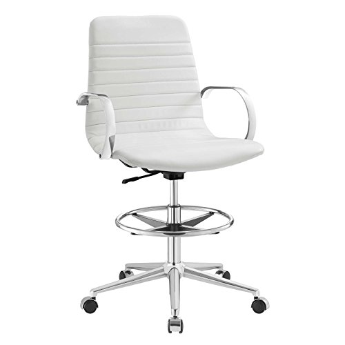 Modway EEI-2863-WHI Groove Ribbed Back Faux Leather Adjustable Drafting Chair, White (Reception Faux Leather)