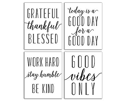 Amazoncom Elegant Signs Inspirational Wall Art Set Of Four 8x10