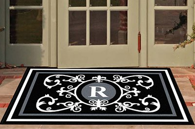 Edinburgh Estate Doormat - Monogrammed Black & White R 3 x 5