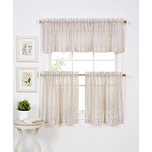 "Elrene Linen Stripe Kitchen Window Valance - 60"" w x 15"" l"