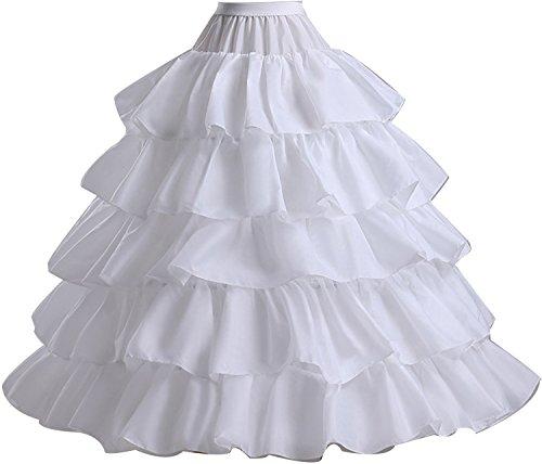 RohmBridal 4 Hoops 5 Ruffles Puffy Wedding Dress Petticoat Ball Gown Underskirts Crinoline Slips