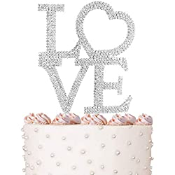 Love Cake Topper, Marriage, Wedding Vow, Anniversary, Bridal Shower Crystal Rhinestones on Silver Metal, Party Decorations, Favors