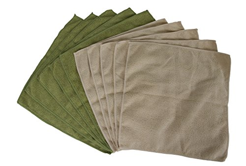 Evriholder Bamboo Naturals Greenery Collection Microfiber Towels, Lint Free Cleaning Cloths, Green & Tan, Pack of 10 ()