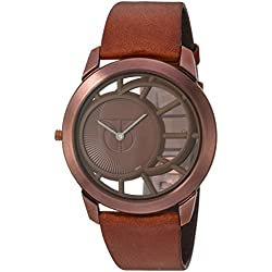 Titan Men's 1576QL01 Analog Display Quartz Brown Watch