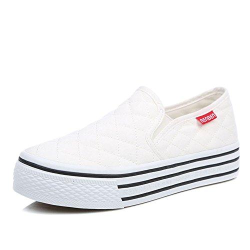 Zapatos Primavera,Las Mujeres Con Zapato Blanco Pequeño,Mujeres Casuales Zapatos Del Estudiante,Zapatos De Suela Gruesa Plataforma De Mocasín Blanco C