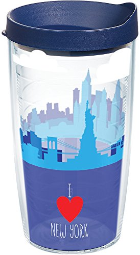 Tervis 1236669 New York - I Heart New York Skyline Tumbler with Wrap and Navy Lid 16oz, Clear ()