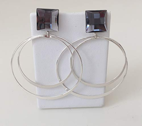 Double Hoop Dangling Post Earrings With Charcoal Grey Faceted Stone 3