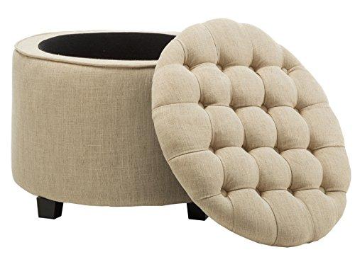 Chairus Fabric Button Round Storage Ottoman with Lift-Top, Beige