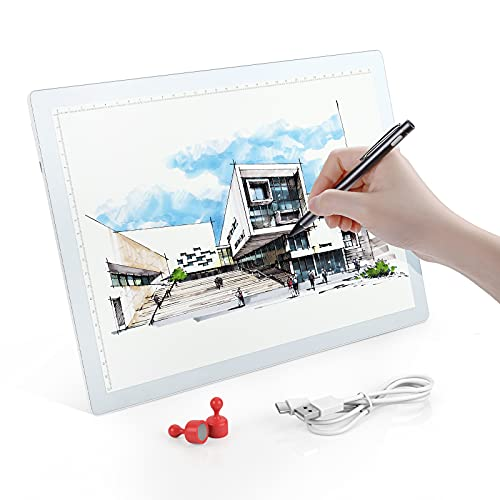 Rechargeable A4 Wireless LED Light Pad, Brightness Dimmable Ultra-Thin Tracing Light Box Powered by Lithium Battery for Cricut Vinyl, Sketching, Drawing Crafting, Aritist Drawing, Diamond Painting