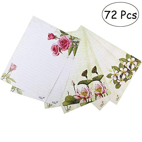 Bolbove 72 Pcs Lovely Plant Flower Theme Letter Writing Stationery Paper Lined Sheets 3 Patterns (White)