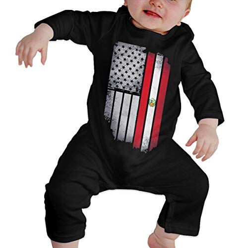 U99oi-9 Long Sleeve Cotton Rompers for Unisex Baby, Cute USA Peru Flag Crawler Black -
