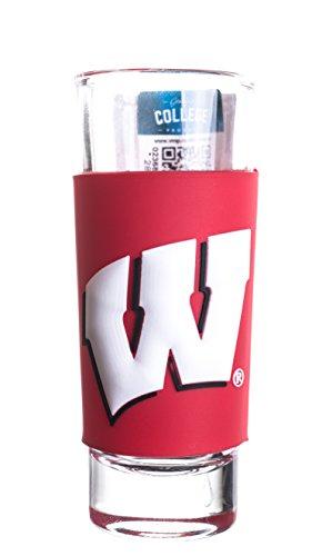 (WISCONSIN BADGERS 2oz. NCAA PVC WRAP TALL SHOT GLASS)