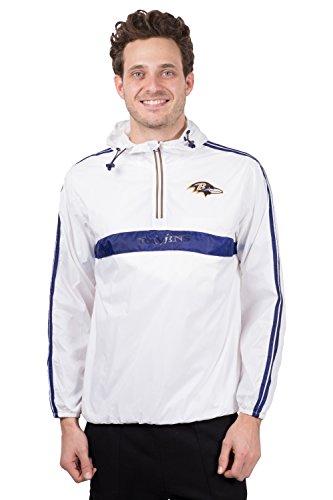 ICER Brands Women's Quarter Zip Pullover Hoodie Windbreaker Jacket Packable, White, Large (Ravens Jacket)
