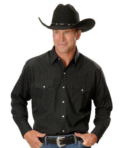 ELY CATTLEMAN Men's Dobby Solid Western Dress Shirt Black Medium (Dress Shirt Western)
