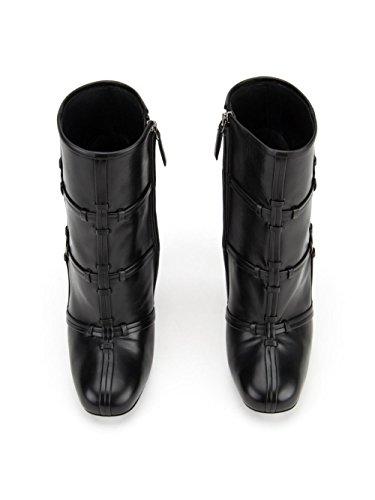 Ankle High Chunky Womens Heels Boots AIWEIYi Black EwCI7qff