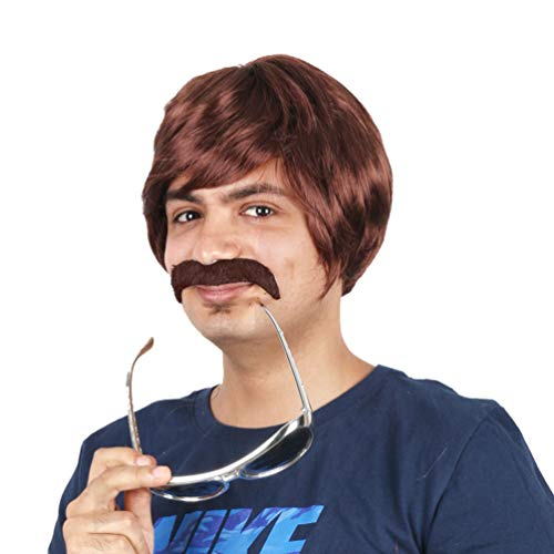 Wig for Men, Short Handsome Cool Straight Hair Wig None Lace Adult Men 60s 70s 80s Halloween Fancy Dress Cosplay Carnival Costume Heat Resistant Synthetic Men's Black Wig with Bangs,Brown -