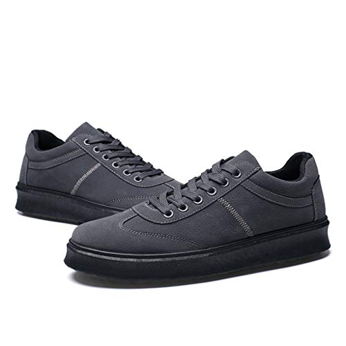 (HYIRI Originals Board Shoes Low Shoes,Men's Round Toe Solid Lace-Up Running Shoes Dark Gray)