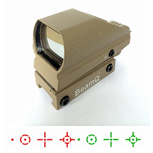 BeamQ Red & Green Reflex Holographic Rifle Scope Dot Sight 8 Different Reticles 22mm