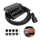 electric trailer cord - 7 Way Trailer Cord with 7 Gang Junction Box - 8 Feet Harness Inline Cord - Weatherproof,Corrosion Resistant - Truck Camper Blade Molded RV Cable Wire Connector Trailer Plug Cord