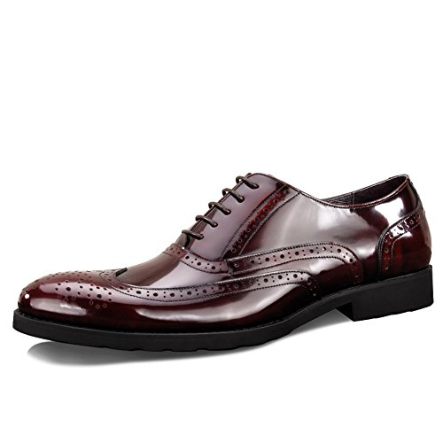 Mens Leather Casual Shoes Dress Herbst Business Hochzeit Mode Rutschen Schwarzbraun Rot