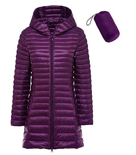 sunseen Women's Winter Down Coat Plus Size Puffer Jacket Packable Lightweight Hooded Slim Warm Outdoor Travel Parka Outerwear (M, Long-Purple)
