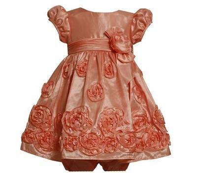 Bonnie Baby Girls' Taffeta Dress With Bonaz Border, Coral, 12 Months