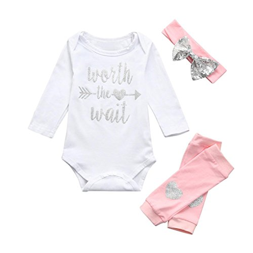 Vinjeely Newborn Infant Baby Girls 3Pcs Fall Winter Outfits Letter Romper Jumpsuit+Leggings+Headband (0-6Months) -