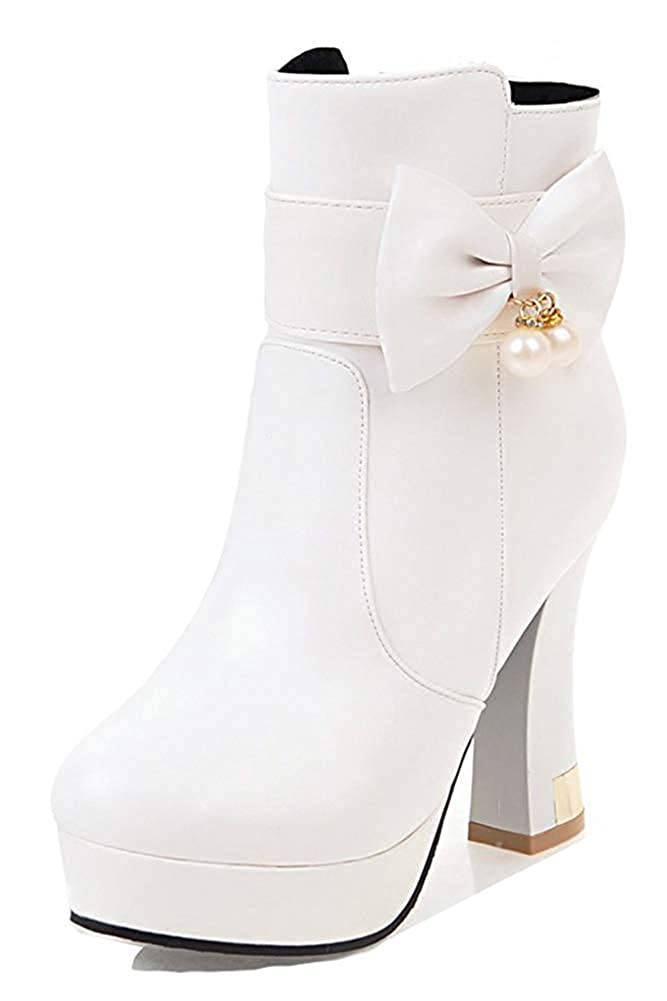 Unm Womens Bride Beaded Bows Round Toe Ankle Boots Platform Party High Chunky Heel Booties with Zipper