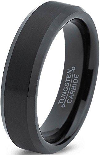 Tungsten Wedding Band Ring 6mm for Men Women Comfort Fit Black Enamel Beveled Edge Brushed Lifetime Guarantee