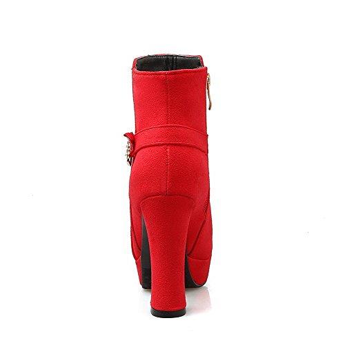 AgooLar Damen Rein Hoher Absatz Rund Zehe Mattglasbirne Reißverschluss Stiefel Rot