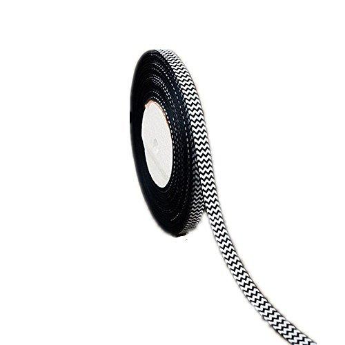 Grosgrain Ribbon Band - 50 Yards White Chevron Printed Halloween Black 3/8