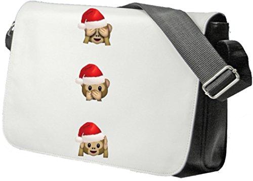 """Schultertasche """"Weihnachts Affen Nichts Böses Shen Sagen Hören """" Schultasche, Sidebag, Handtasche, Sporttasche, Fitness, Rucksack, Emoji, Smiley"""