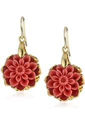 Devon Leigh Splash Of Color Small Coral Jade Flower in 24k Gold Foil Earrings