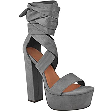Womens Ladies Chunky High Block Heel Ankle Lace Tie Platform Sandals Shoes Size