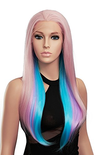 SETPRETTYXG Lolita 3 Tone Multi-Colored Synthetic Lace Front Wigs Pink Lavender Teal Mixed Color Silky Straight Princess Celestia Wig