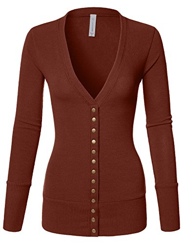 Luna Flower Women's V-Neck Snap Button Long Sleeve Soft Basic Knit Snap Cardigan Sweater Dark_Rust Small (GCDW027) - V-neck Tights