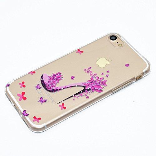 Coque pour iPhone 7 Case , ZXLZKQ iPhone 7 Housse Clair Transparente Anti Scratch Etui Souple TPU Silicone Back Protection Chaussures à talons hauts Rose Coque pour Apple iPhone 7 4.7 Pouce
